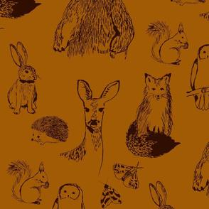 Woodland Animals on Rust