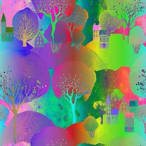 MOUNTAINS VILLAGE TREES MULTICOLOR FLWRHT