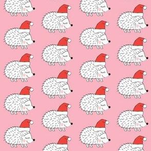 santa hedgehogs on pink