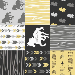 Horse Patchwork- yellow, black - rotated