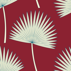 Boho sunshine palm leaves on Burgundy