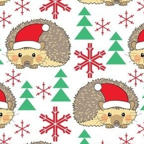 santa hedgehogs with snowflakes and trees