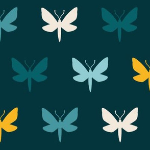 Teal Moth Silhouette | LARGE