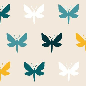 Vanilla & Teal Moth Silhouette | LARGE