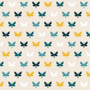 Vanilla & Teal Moth Silhouette | SMALL