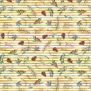 Christmas floral on gold foil stripes