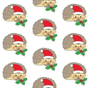 santa hedgehogs with holly