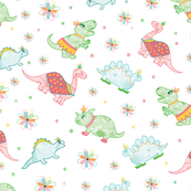 Dinosaur Princesses with Flowers and Stars