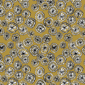 flower ochre darker small scale