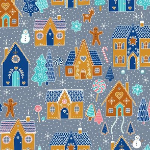 Gingerbread Houses in the snow - Silver grey