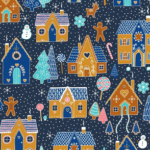 Gingerbread Houses in the snow - Navy
