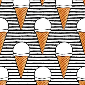 vanilla ice cream cones - black stripes - LAD19BS