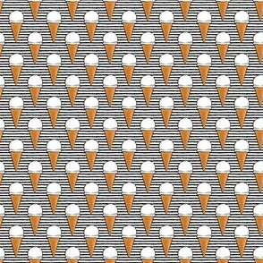 "(3/4"" scale) vanilla ice cream cones - black stripes - LAD19BS"