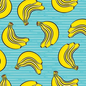 bananas - bunch of bananas - blue stripes - LAD19