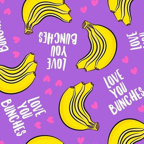 Love you bunches - bananas valentines - hearts - purple - LAD19