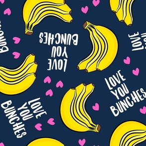Love you bunches - bananas valentines - hearts - dark blue - LAD19
