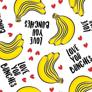 Love you bunches - bananas valentines - hearts - white - LAD19