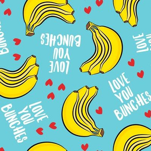 Love you bunches - bananas valentines - hearts - blue - LAD19