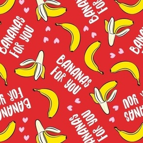 bananas for you - red - banana valentines - LAD19