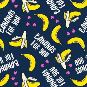 bananas for you - dark blue (pink hearts) - banana valentines - LAD19