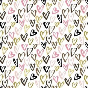 Sketch Hearts brown pink