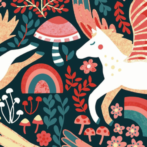 Whimsical Pegasus Forest - Coral - Large Version