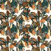 Whimsical Pegasus Forest - Orange - Small Version