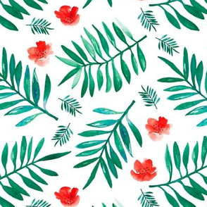 Watercolor palm leaf botanical tropical garden and blossom flowers gender neutral forest green red christmas