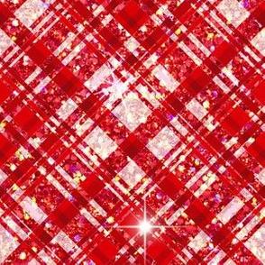 Plaid red pink glitter stars