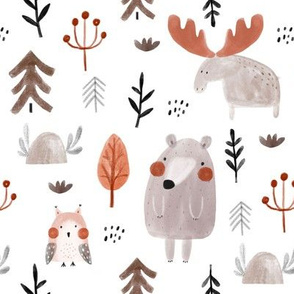 Watercolor forest pattern with bears, moose, owls