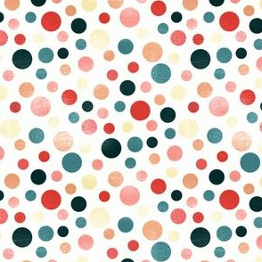 Whimsical Polka Dots - Coral, White - Coordinate
