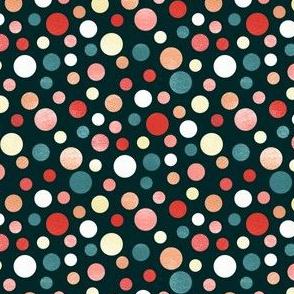 Whimsical Polka Dots - Coral, Navy - Coordinate