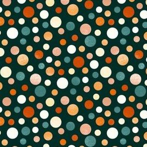 Whimsical Polka Dots - Orange, Navy - Coordinate