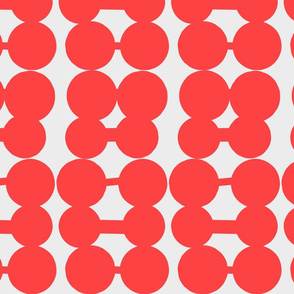 Dumbbell Dots_Ivory_Dark Orange