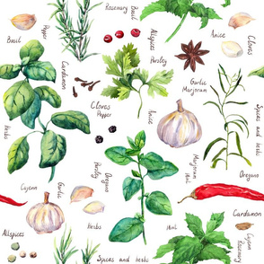 Herbs and spices watercolor pattern