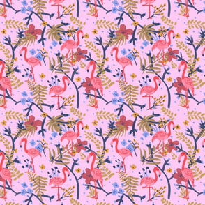 Flamingos Having Fun in Pink