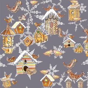 gingerbread bird houses on grey