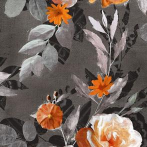 Over-sized Retro Rose Chintz in Orange and Grey