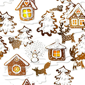 Gingerbread winter landscape