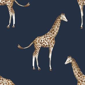 "8"" Giraffe Print Navy Back"