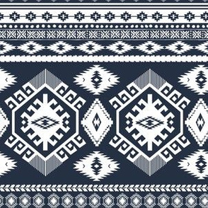 "6"" Navy and White Aztec Print"