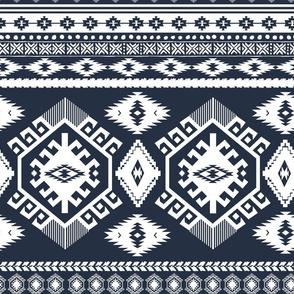 "18"" Navy and White Aztec Print"