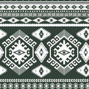 """6"""" Olive and White Aztec Print"""