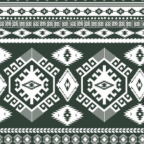 """18"""" Olive and White Aztec Print"""
