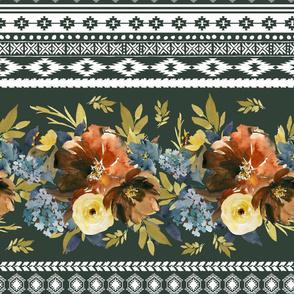 """18"""" Serengeti Floral Aztec Olive Back"""