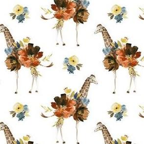 "4"" Serengeti Floral Giraffe White"