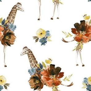 "8"" Serengeti Floral Giraffe White"