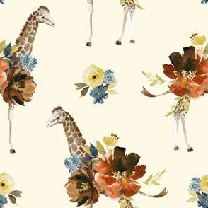 "8"" Serengeti Floral Giraffe Ivory"