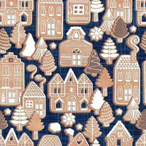 Whimsical Gingerbread Christmas Village // normal scale // blue and brown
