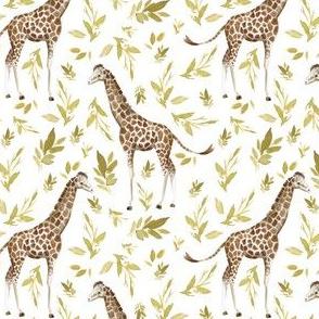 """4"""" Serengeti Giraffe with Gold Branches White"""